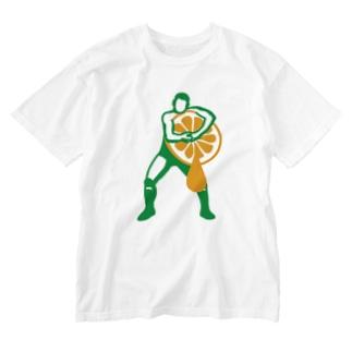 ヘッドロックみかん搾り Washed T-shirts