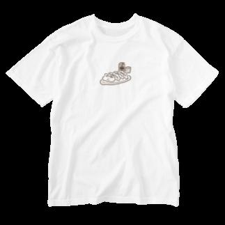 点心夫婦商店 SUZURI店の餃子ビール(シンプル) Washed T-shirts