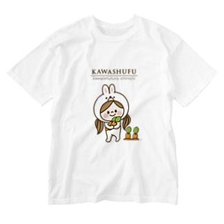 アグリム@かわ主婦スタンプ制作中のかわいい主婦の1日うさぎ&ロゴ Washed T-shirts