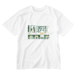 ひとねこ「喫茶ねこ」 Washed T-shirts