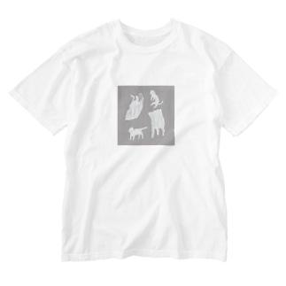 ネコとビニール袋 Washed T-shirts
