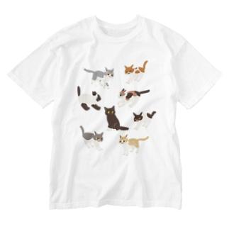 こねこ Washed T-shirts