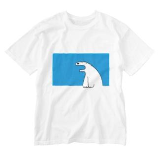 しろくまさん(あお) Washed T-shirts