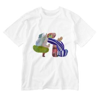 のびのびどーう Washed T-shirts