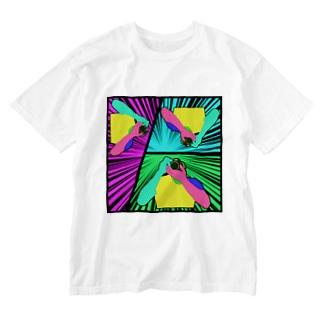 カメラマン(集中線) Washed T-shirts