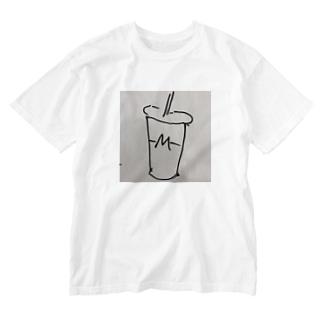 ハンバーガーショップのシェイクロゴ Washed T-shirts
