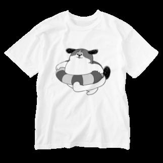 マツバラのもじゃまるうきわ 白黒 Washed T-shirts