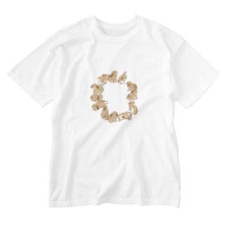 うサークル(たれみみ) Washed T-shirts