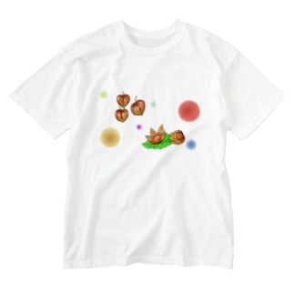 ホオズキ 水玉パターン Washed T-shirts