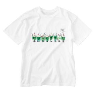 クリームソーダ先輩8人前(セリフ付き) Washed T-Shirt