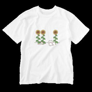 DECORのネコがいっぱい ひまわりver. Washed T-shirts