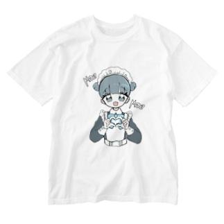 お団子青メイドちゃん Washed T-shirts