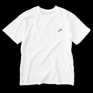 グレートピーチちゃんの空飛ぶエビフライ Washed T-shirts