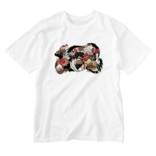 日本の美 葛飾北斎「群鶏」カラー版 Washed T-Shirt