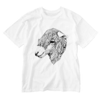 sheep face black Washed T-shirts