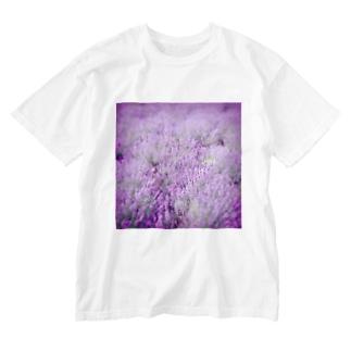 むらむらな紫色のラベンダー Washed T-shirts