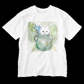 フクモトエミのみずがめ座のネコ Washed T-shirts