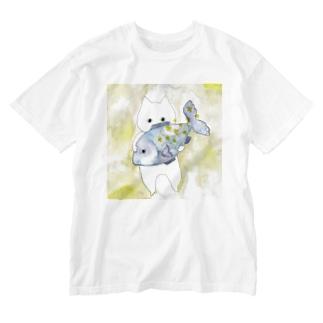うお座のネコ Washed T-shirts