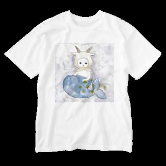 フクモトエミのやぎ座のネコ Washed T-shirts