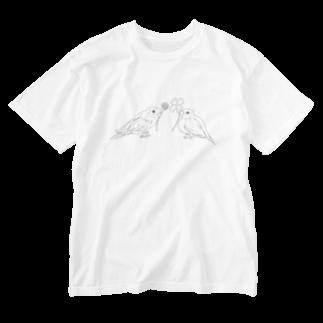 Lily bird(о´∀`о)のセキセイインコと文鳥とクローバー モノクロ① Washed T-shirts