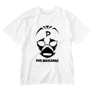パグ・マスカラス(モノクロ) Washed T-shirts