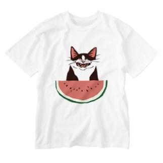 スイカが食べたいにゃ Washed T-shirts