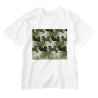 シベリアン ハスキー 迷彩柄 Washed T-shirts