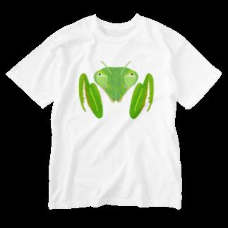 さちこの生き物雑貨のカマキリ Washed T-shirts