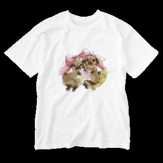 アトリエねぎやまのくまたんとこぐまちゃん Washed T-shirts