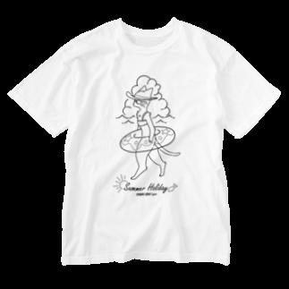 トンガリゴートの夏休みニャンコ Washed T-shirts