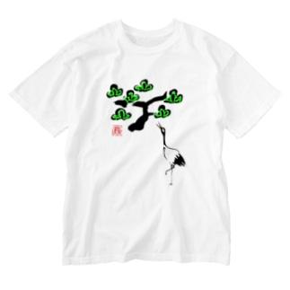 松と鶴 墨絵風Tシャツ Washed T-shirts