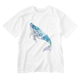 クジラの切り絵 Washed T-shirts