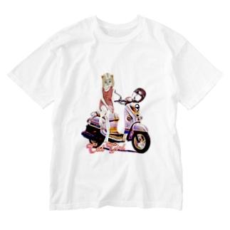 CAT GIRL BIKE Washed T-shirts