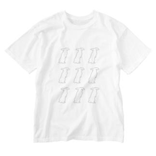 ウサウサウサ(ロップさん) Washed T-shirts