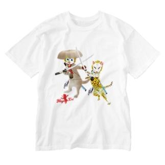 NINJA CAT 激突2 Washed T-shirts