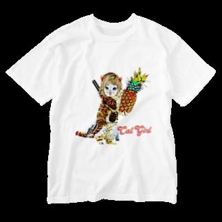 Rock catのCAT GIRL パイナップル Washed T-shirts