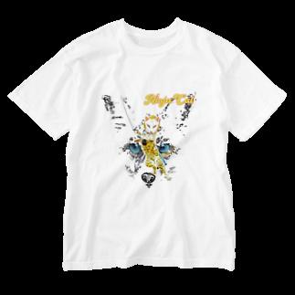 Rock catの狐 NINJA CAT 2 Washed T-shirts