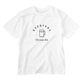 Aliviostaの毎日飲みたいビール カレッジロゴ BEER 酒 Washed T-shirts
