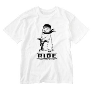 AliviostaのRIDE -feel the wind- 動物イラスト アメカジ バイク Washed T-shirts