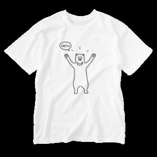 AliviostaのHello bear ハロークマ 熊 動物イラスト Washed T-shirts