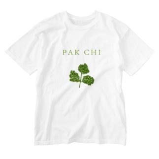 パクチー Washed T-shirts