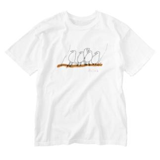 鳥←ぶらんこブンブン Washed T-shirts