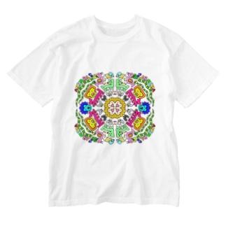 アニマル マンダラ Washed T-shirts