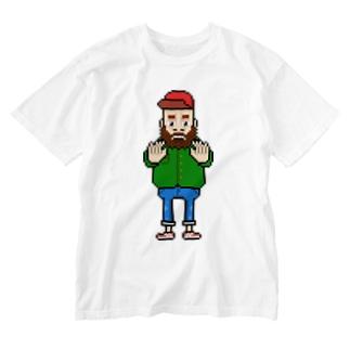 ちょっとまっておじさん Washed T-shirts