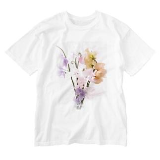 パステルカラー  スイートピーの花 Washed T-shirts
