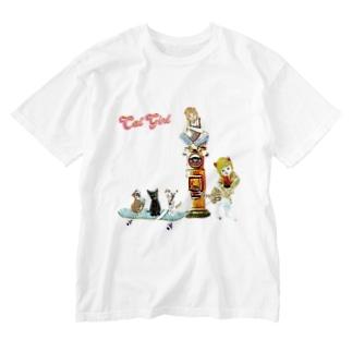 巡業 猫楽団 Washed T-shirts