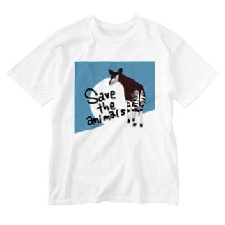 オカピ 絶滅危惧種を守ろう Washed T-Shirt