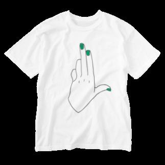 arm arm design3のゆびさしT Washed T-shirts