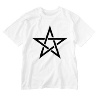 風天工房の五芒星(黒) Washed T-shirts