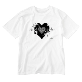 心電図ハート Washed T-shirts